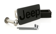 Matte Black Powder Coated Rectangular Hitch Cover with Black Epoxy Filled Jeep Logo