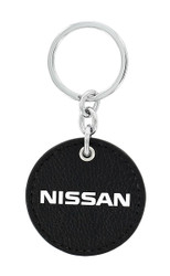 Nissan UV Printed Leather Key Chain_ Round Shape Black Leather