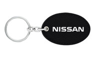 Nissan UV Printed Leather Key Chain_ Oval Shape Black Leather