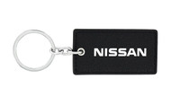 Nissan UV Printed Leather Key Chain_ Rectangular Shape Black Leather