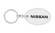 Nissan UV Printed Leather Key Chain_ Oval Shape White Leather