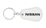 Nissan UV Printed Leather Key Chain_ Pear Shape White Leather