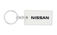 Nissan UV Printed Leather Key Chain_ Rectangular Shape White Leather