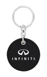 Infiniti UV Printed Leather Key Chain_ Round Shape Black Leather