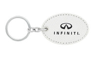 Infiniti UV Printed Leather Key Chain_ Oval Shape White Leather