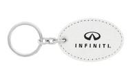Infiniti UV Printed Leather Key Chain_ Oval Shape White Leather