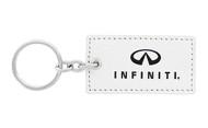 Infiniti UV Printed Leather Key Chain_ Rectangular Shape White Leather
