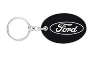 Ford UV Printed Leather Key Chain_ Oval Shape Black Leather