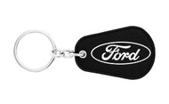 Ford UV Printed Leather Key Chain_ Pear Shape Black Leather