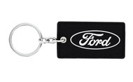 Ford UV Printed Leather Key Chain_ Rectangular Shape Black Leather