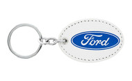 Ford UV Printed Leather Key Chain_ Oval Shape White Leather