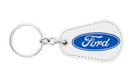 Ford UV Printed Leather Key Chain_ Pear Shape White Leather