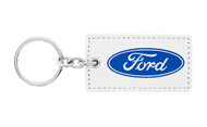 Ford UV Printed Leather Key Chain_ Rectangular Shape White Leather