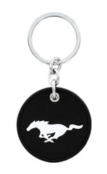 Ford Mustang Leather Key Chain with UV Printed Logo on both sides_ Round Shape Black Leather