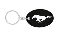 Ford Mustang Leather Key Chain with UV Printed Logo on both sides_ Oval Shape Black Leather