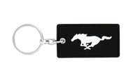 Ford Mustang Leather Key Chain with UV Printed Logo on both sides_ Rectangular Shape Black Leather