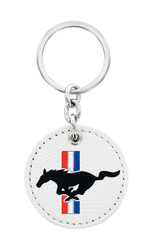 Ford Mustang Leather Key Chain with UV Printed Logo on both sides_ Round Shape White Leather