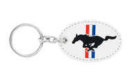 Ford Mustang Leather Key Chain with UV Printed Logo on both sides_ Oval Shape White Leather