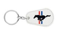 Ford Mustang Leather Key Chain with UV Printed Logo on both sides_ Pear Shape White Leather