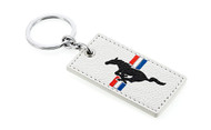 Ford Mustang Leather Key Chain with UV Printed Logo on both sides_ Rectangular Shape White Leather