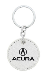 Acura UV Printed White Leather Key Chains_ Available in 4 Shapes