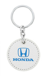 Honda UV Printed White Leather Key Chains_ Available in 4 Shapes