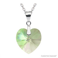 Crystal Luminous Green F Xilion Heart Necklace Embellished with Swarovski Crystals (NE3R-001LUMG)