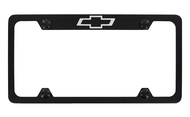 Black Coated Zinc License Plate Frame with Chevy Bowtie Logo_ 4 holes frame