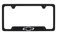 Black Coated Zinc License Plate Frame with Chevy Bowtie Logo