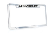 Chrome Plated Brass License Plate Frame with Epoxy Filled Chevrolet Wordmark