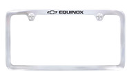 Chrome Plated Brass License Plate Frame with Epoxy Filled Equinox Wordmark_ Thin Rim