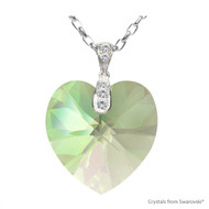 Crystal Luminous Green F Xilion Heart Necklace Embellished with Swarovski Crystals (NE3R-001LUMG-28)