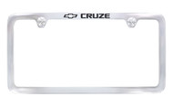 Chrome Plated Brass License Plate Frame with Epoxy Filled Cruze Wordmark_ Thin Rim