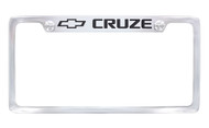 Chrome Plated Brass License Plate Frame with Epoxy Filled Cruze Wordmark