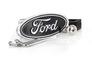 Chrome Plated Black Epoxy Filled Ford Oval Logo Trailer Hitch Cover