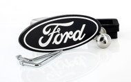 Black Powder Coated Ford Oval Logo Trailer Hitch Cover