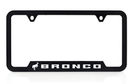 Ford Bronco UV Printed Black Plastic License Frame _ Notched Bottom Frame Design