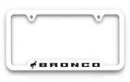 Ford Bronco UV Printed White Plastic License Frame _ Notched Bottom Frame Design