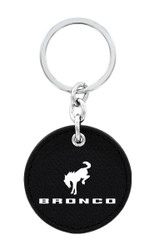 Ford Bronco Black Leather Key Chain with UV Printed Logo _ Round Shape