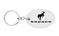 Ford Bronco White Leather Key Chain with UV Printed Logo _ Oval Shape