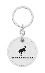 Ford Bronco White Leather Key Chain with UV Printed Logo _ Round Shape