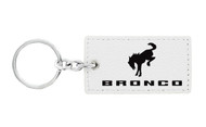 Ford Bronco White Leather Key Chain with UV Printed Logo_ Rectangle Shape
