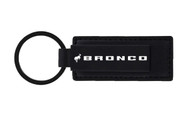 Ford Bronco Matte Black Finish Metal Leather Keychain