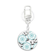White Leather Key Chain with UV Printed Floral Art on both sides_ Teal Color Floral