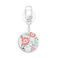 White Leather Key Chain with UV Printed Floral Art on both sides_ Orange Green Floral