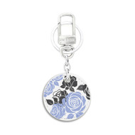 White Leather Key Chain with UV Printed Floral Art on both sides_ Purple Black Floral