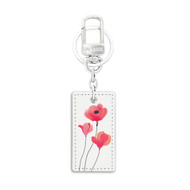 Rectangular Shape White Leather Key Chain with UV Printed Graphic on both sides_ Red Flower