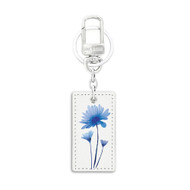 Rectangular Shape White Leather Key Chain with UV Printed Graphic on both sides_ Blue Floral