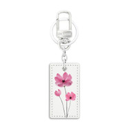 Rectangular Shape White Leather Key Chain with UV Printed Graphic on both sides_ Pink Floral
