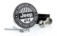 Black Coated Round Hitch Cover with UV Printed Jeep Graphic_ EST. 1941